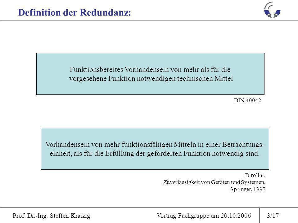 Prof. Dr.-Ing. Steffen Krätzig Vortrag Fachgruppe am 20.10.20062/17 Definition und Ursprung Redundanz Zuverlässigkeit Verfügbarkeit Mathematische Besc