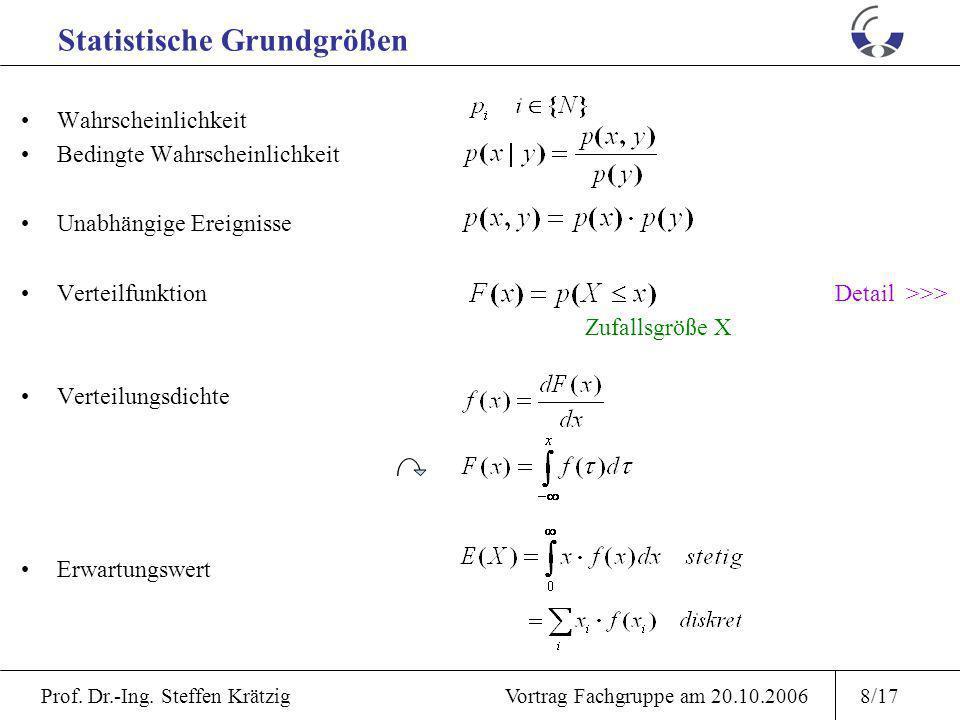 Prof. Dr.-Ing. Steffen Krätzig Vortrag Fachgruppe am 20.10.20067/17 RedundanzVerfügbarkeit A(t) availability Def: Reparatur - / Unterhaltungskonzepte