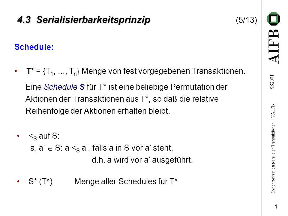 Synchronisation paralleler Transaktionen AIFB SS2001 1 4.3 Serialisierbarkeitsprinzip 4.3 Serialisierbarkeitsprinzip (5/13) Schedule: T* = {T 1,..., T n } Menge von fest vorgegebenen Transaktionen.