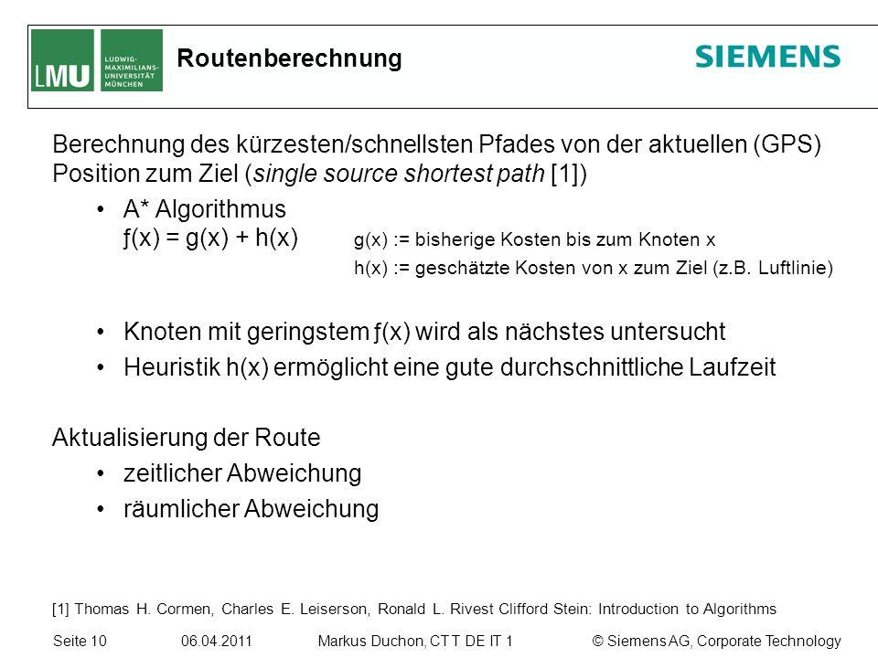 Seite 10 06.04.2011 © Siemens AG, Corporate TechnologyMarkus Duchon, CT T DE IT 1 Routenberechnung Berechnung des kürzesten/schnellsten Pfades von der aktuellen (GPS) Position zum Ziel (single source shortest path [1]) A* Algorithmus ƒ (x) = g(x) + h(x) g(x) := bisherige Kosten bis zum Knoten x h(x) := geschätzte Kosten von x zum Ziel (z.B.