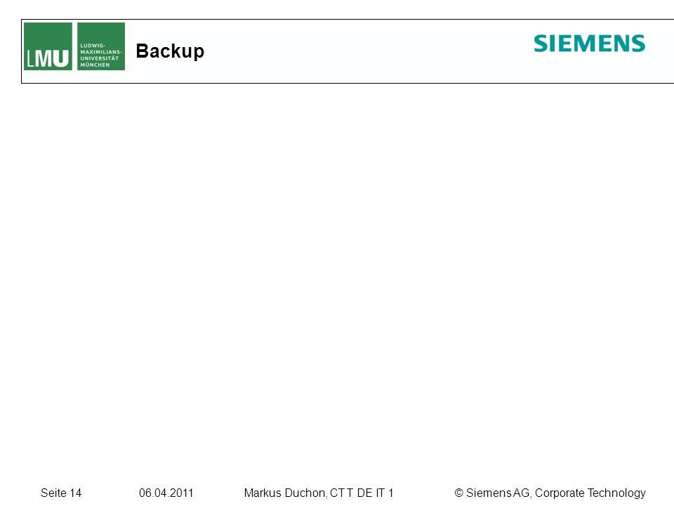 Seite 14 06.04.2011 © Siemens AG, Corporate TechnologyMarkus Duchon, CT T DE IT 1 Backup