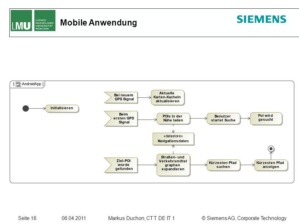 Seite 18 06.04.2011 © Siemens AG, Corporate TechnologyMarkus Duchon, CT T DE IT 1 Mobile Anwendung
