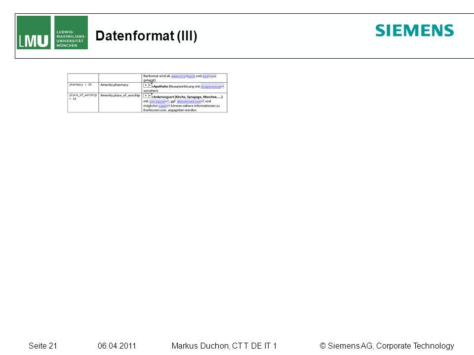 Seite 21 06.04.2011 © Siemens AG, Corporate TechnologyMarkus Duchon, CT T DE IT 1 Datenformat (III)