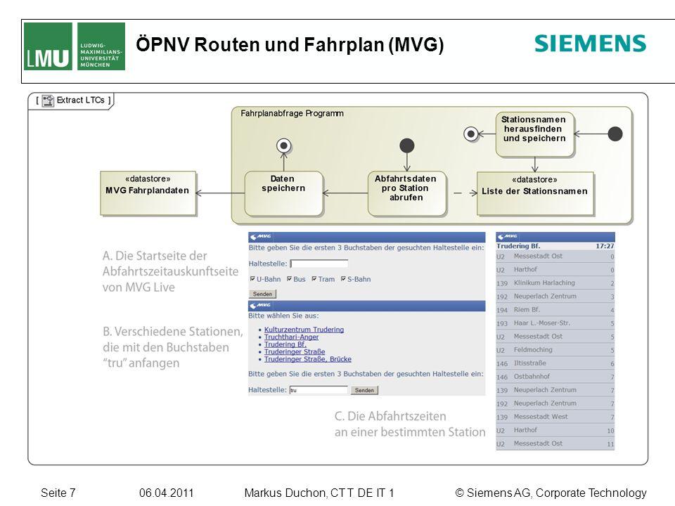 Seite 7 06.04.2011 © Siemens AG, Corporate TechnologyMarkus Duchon, CT T DE IT 1 ÖPNV Routen und Fahrplan (MVG)