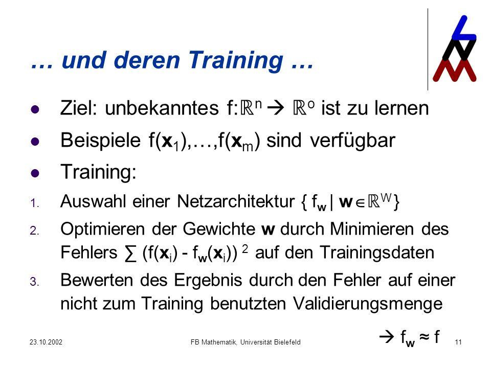23.10.2002FB Mathematik, Universität Bielefeld11 … und deren Training … Ziel: unbekanntes f: n o ist zu lernen Beispiele f(x 1 ),…,f(x m ) sind verfügbar Training: 1.