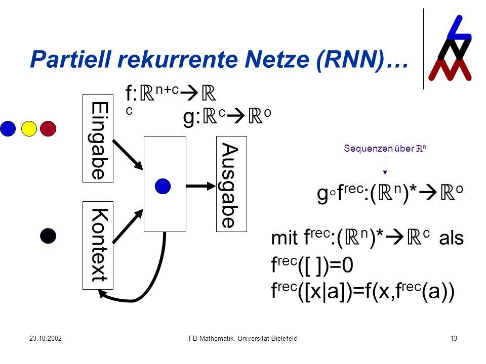 23.10.2002FB Mathematik, Universität Bielefeld13 Partiell rekurrente Netze (RNN)… Eingabe Kontext Ausgabe f: n+c c g: c o mit f rec :( n )* c als f rec ([ ])=0 f rec ([x|a])=f(x,f rec (a)) gf rec :( n )* o Sequenzen über n