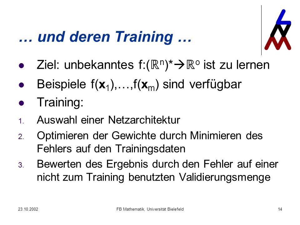 23.10.2002FB Mathematik, Universität Bielefeld14 … und deren Training … Ziel: unbekanntes f:( n )* o ist zu lernen Beispiele f(x 1 ),…,f(x m ) sind verfügbar Training: 1.