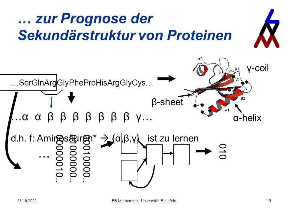 23.10.2002FB Mathematik, Universität Bielefeld15 … zur Prognose der Sekundärstruktur von Proteinen …SerGlnArgGlyPheProHisArgGlyCys… α-helix β-sheet γ-coil …α α β β β β β β β γ… 00000010..01000000..00010000..
