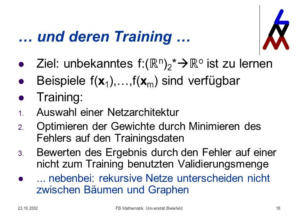 23.10.2002FB Mathematik, Universität Bielefeld18 … und deren Training … Ziel: unbekanntes f:( n ) 2 * o ist zu lernen Beispiele f(x 1 ),…,f(x m ) sind verfügbar Training: 1.