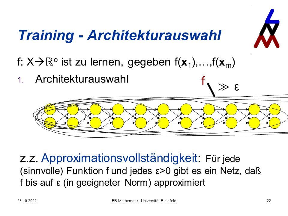 23.10.2002FB Mathematik, Universität Bielefeld22 Training - Architekturauswahl f: X o ist zu lernen, gegeben f(x 1 ),…,f(x m ) 1. Architekturauswahl f