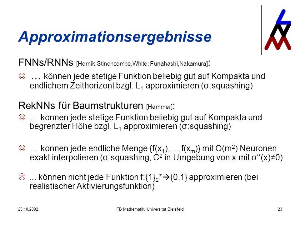 23.10.2002FB Mathematik, Universität Bielefeld23 Approximationsergebnisse FNNs/RNNs [Hornik,Stinchcombe,White; Funahashi,Nakamura] : … können jede stetige Funktion beliebig gut auf Kompakta und endlichem Zeithorizont bzgl.