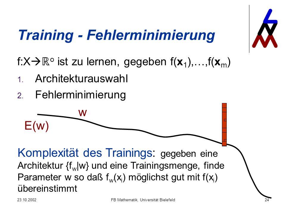 23.10.2002FB Mathematik, Universität Bielefeld24 Training - Fehlerminimierung f:X o ist zu lernen, gegeben f(x 1 ),…,f(x m ) 1. Architekturauswahl 2.