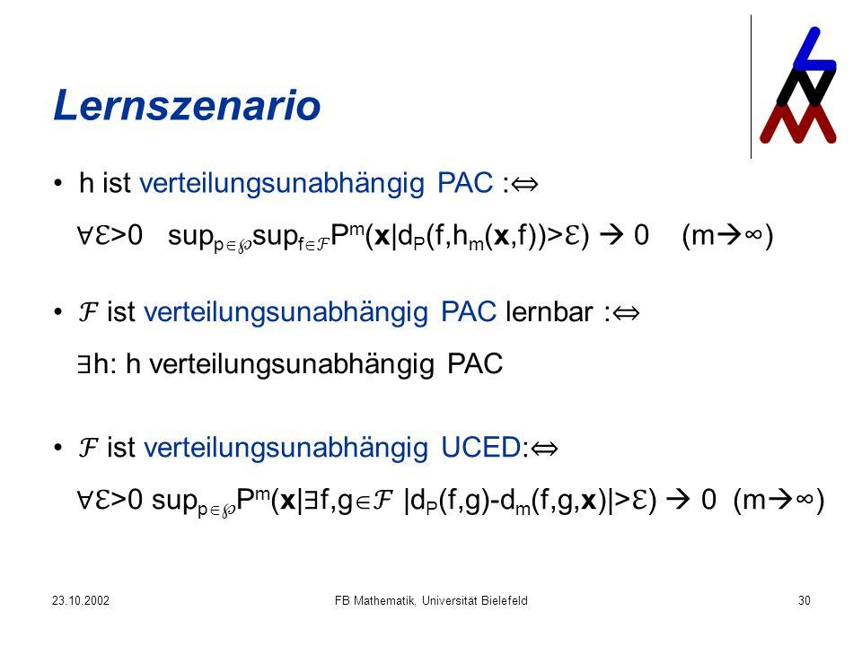 23.10.2002FB Mathematik, Universität Bielefeld30 Lernszenario h ist verteilungsunabhängig PAC : >0 sup p sup f P m (x|d P (f,h m (x,f))> ) 0 (m ) ist verteilungsunabhängig UCED: >0 sup p P m (x| f,g |d P (f,g)-d m (f,g,x)|> ) 0 (m ) ist verteilungsunabhängig PAC lernbar : h: h verteilungsunabhängig PAC