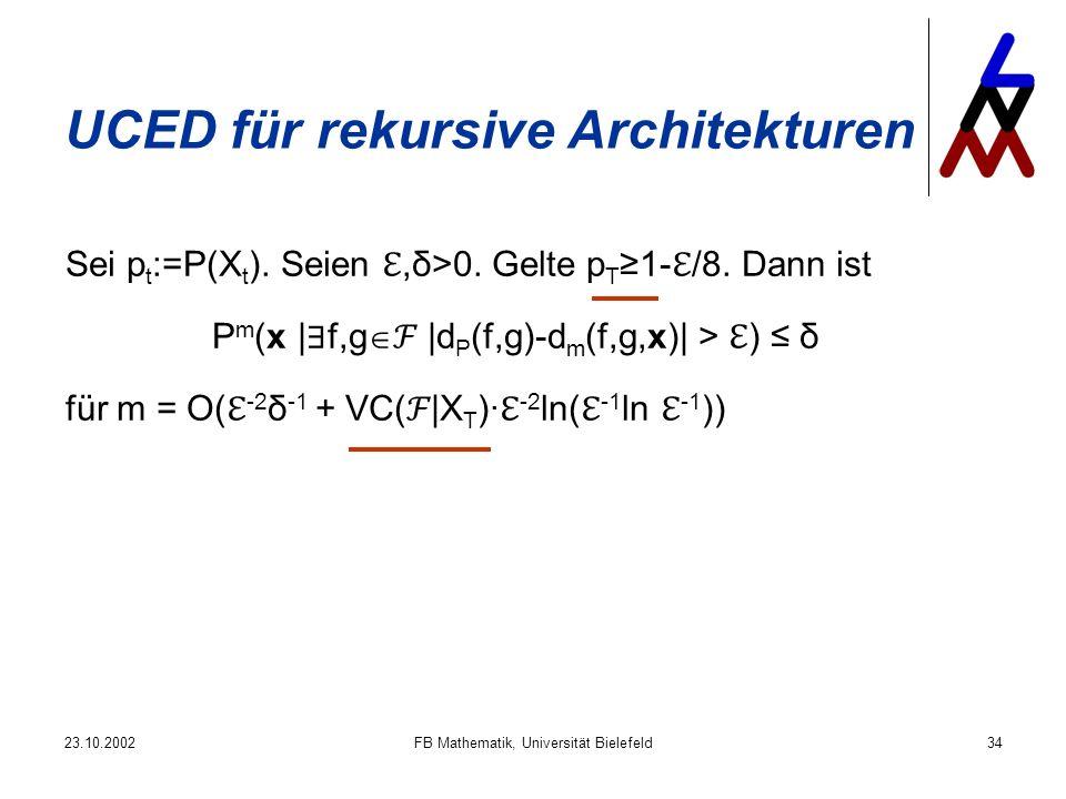 23.10.2002FB Mathematik, Universität Bielefeld34 UCED für rekursive Architekturen Sei p t :=P(X t ). Seien,δ>0. Gelte p T 1- /8. Dann ist P m (x | f,g