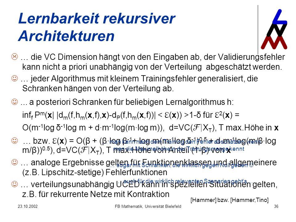 23.10.2002FB Mathematik, Universität Bielefeld36 Lernbarkeit rekursiver Architekturen … die VC Dimension hängt von den Eingaben ab, der Validierungsfehler kann nicht a priori unabhängig von der Verteilung abgeschätzt werden.