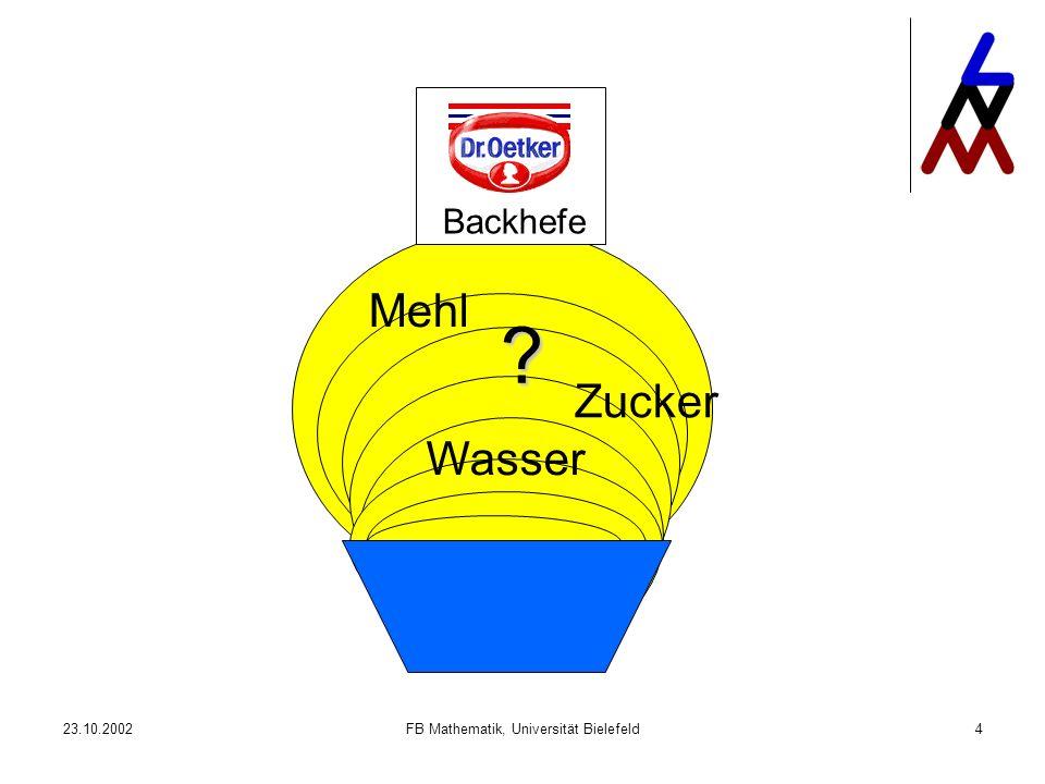 23.10.2002FB Mathematik, Universität Bielefeld4 Mehl Wasser Zucker Backhefe ?