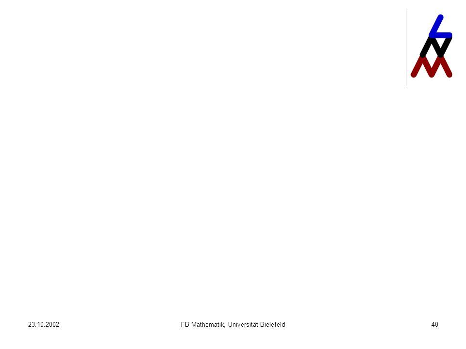 23.10.2002FB Mathematik, Universität Bielefeld40