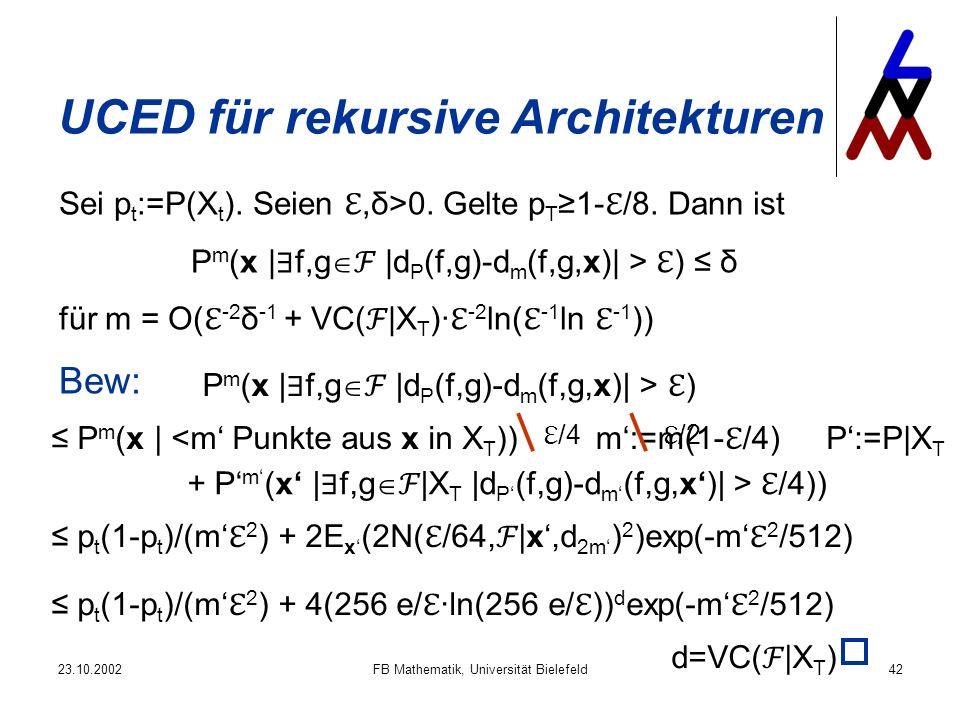 23.10.2002FB Mathematik, Universität Bielefeld42 UCED für rekursive Architekturen Sei p t :=P(X t ). Seien,δ>0. Gelte p T 1- /8. Dann ist P m (x | f,g