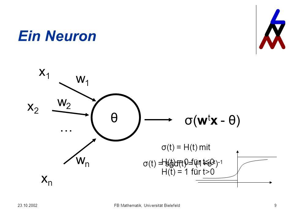 23.10.2002FB Mathematik, Universität Bielefeld9 Ein Neuron w1w1 w2w2 wnwn … θ x1x1 x2x2 xnxn σ(w t x - θ) σ(t) = sgd(t) = (1+e -t ) -1 σ(t) = H(t) mit H(t) = 0 für t0 H(t) = 1 für t>0