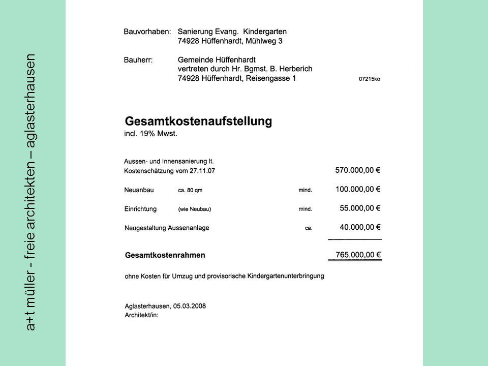 a+t müller - freie architekten – aglasterhausen Kva altbau gesamtkosten gesamtkosten