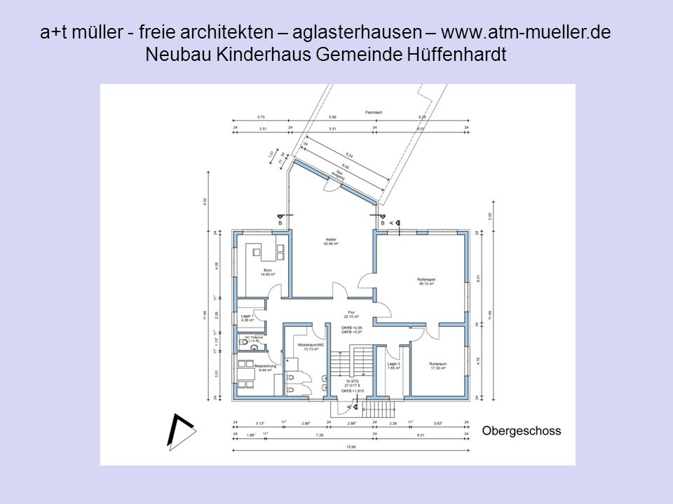 a+t müller - freie architekten – aglasterhausen – www.atm-mueller.de Neubau Kinderhaus Gemeinde Hüffenhardt V1 OG