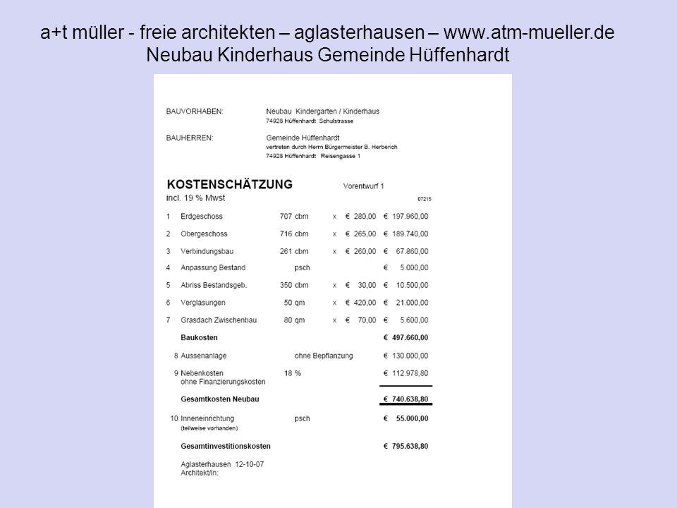 a+t müller - freie architekten – aglasterhausen – www.atm-mueller.de Neubau Kinderhaus Gemeinde Hüffenhardt V1 KVA