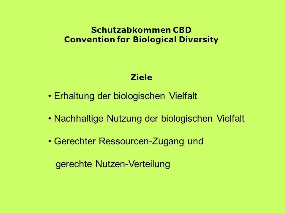 Schutzabkommen CBD Convention for Biological Diversity Ziele Erhaltung der biologischen Vielfalt Nachhaltige Nutzung der biologischen Vielfalt Gerecht