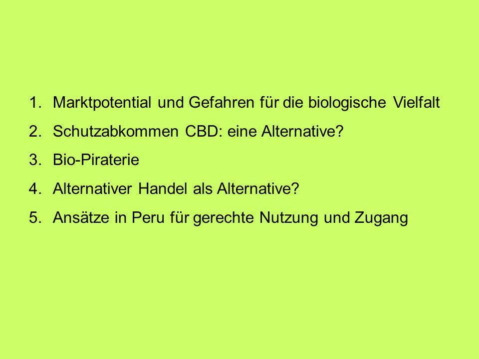 1.Marktpotential und Gefahren für die biologische Vielfalt 2.Schutzabkommen CBD: eine Alternative? 3.Bio-Piraterie 4.Alternativer Handel als Alternati