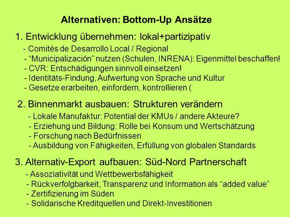 Alternativen: Bottom-Up Ansätze 1. Entwicklung übernehmen: lokal+partizipativ - Comités de Desarrollo Local / Regional - Municipalización nutzen (Schu