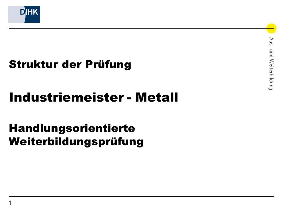 1 Struktur der Prüfung Industriemeister - Metall Handlungsorientierte Weiterbildungsprüfung