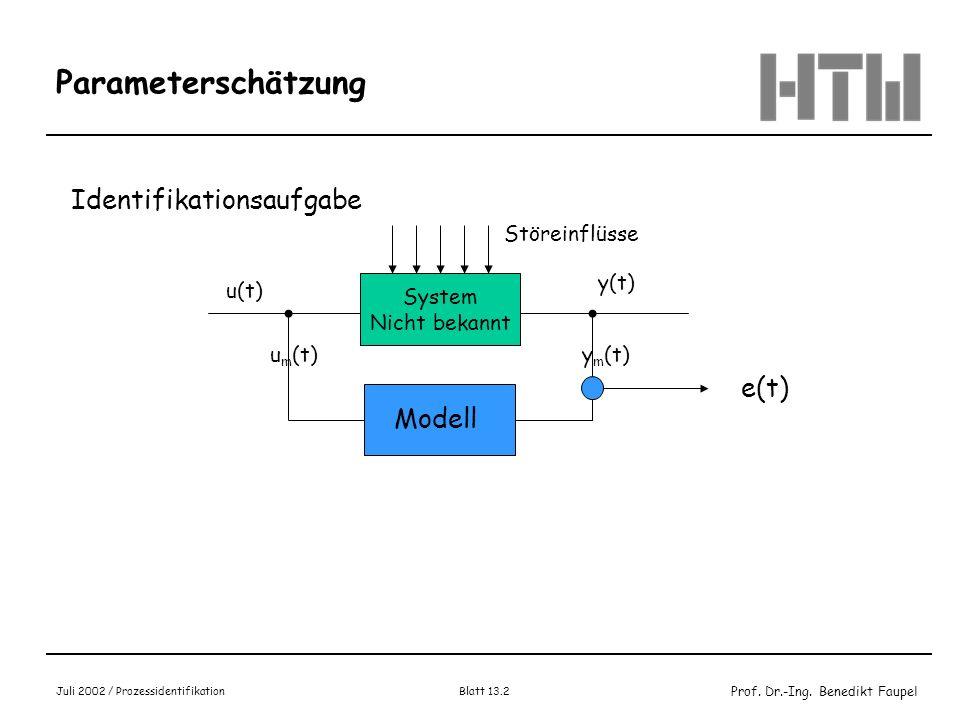 Prof. Dr.-Ing. Benedikt Faupel Juli 2002 / Prozessidentifikation Blatt 13.2 Parameterschätzung Identifikationsaufgabe System Nicht bekannt Störeinflüs