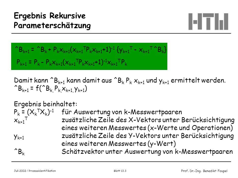 Prof. Dr.-Ing. Benedikt Faupel Juli 2002 / Prozessidentifikation Blatt 13.3 Ergebnis Rekursive Parameterschätzung ^B k+1 = ^B k + P k x k+1 (x k+1 T P