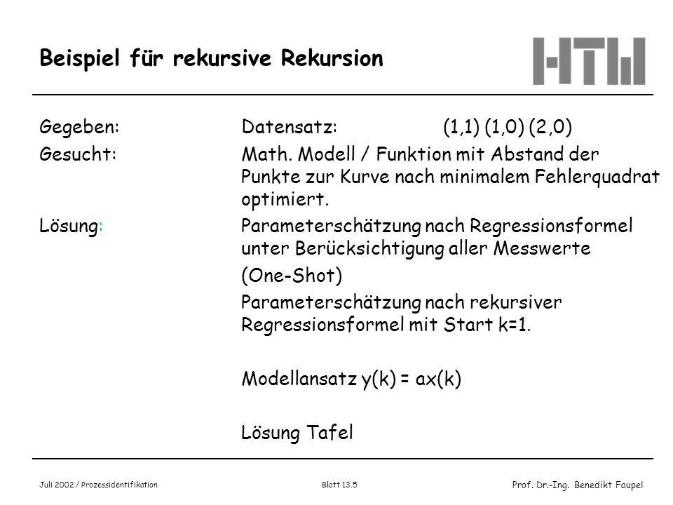 Prof. Dr.-Ing. Benedikt Faupel Juli 2002 / Prozessidentifikation Blatt 13.5 Beispiel für rekursive Rekursion Gegeben: Datensatz:(1,1) (1,0) (2,0) Gesu