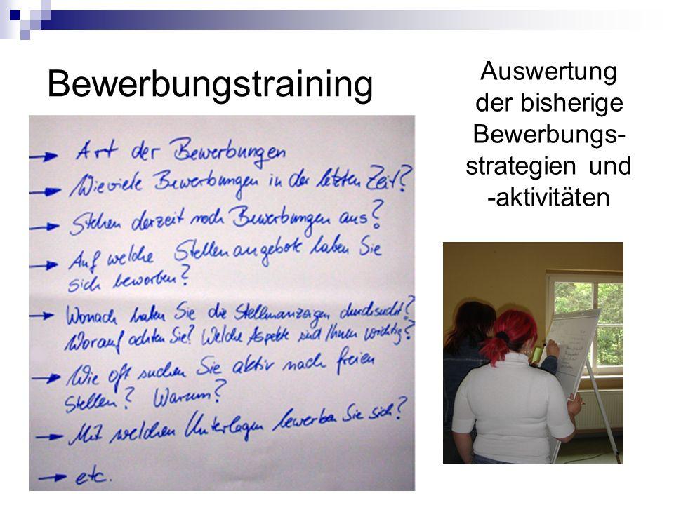 Auswertung der bisherige Bewerbungs- strategien und -aktivitäten Bewerbungstraining