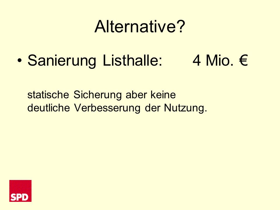 Alternative. Sanierung Listhalle:4 Mio.