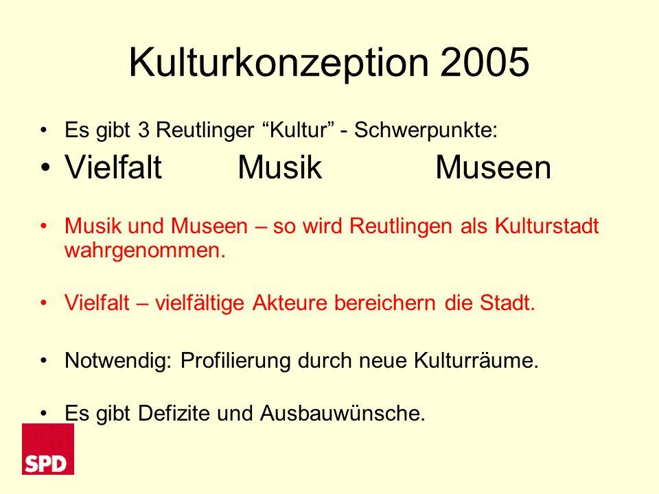 Kulturkonzeption 2005 Es gibt 3 Reutlinger Kultur - Schwerpunkte: VielfaltMusikMuseen Musik und Museen – so wird Reutlingen als Kulturstadt wahrgenommen.