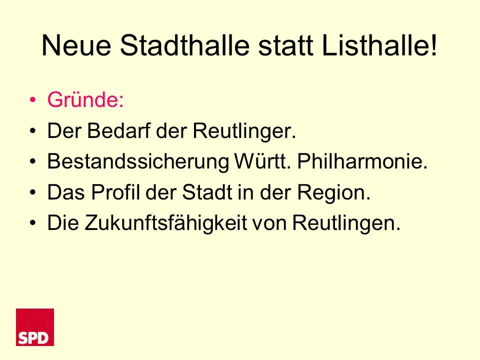 Neue Stadthalle statt Listhalle. Gründe: Der Bedarf der Reutlinger.