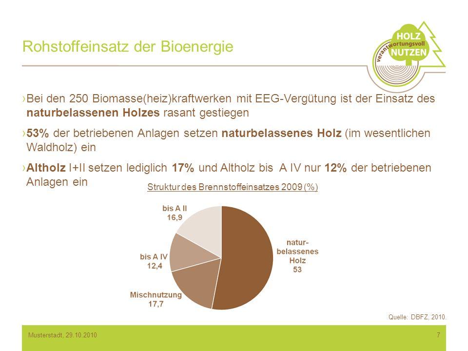 Rohstoffeinsatz der Bioenergie 7 Bei den 250 Biomasse(heiz)kraftwerken mit EEG-Vergütung ist der Einsatz des naturbelassenen Holzes rasant gestiegen 53% der betriebenen Anlagen setzen naturbelassenes Holz (im wesentlichen Waldholz) ein Altholz I+II setzen lediglich 17% und Altholz bis A IV nur 12% der betriebenen Anlagen ein Quelle: DBFZ, 2010.