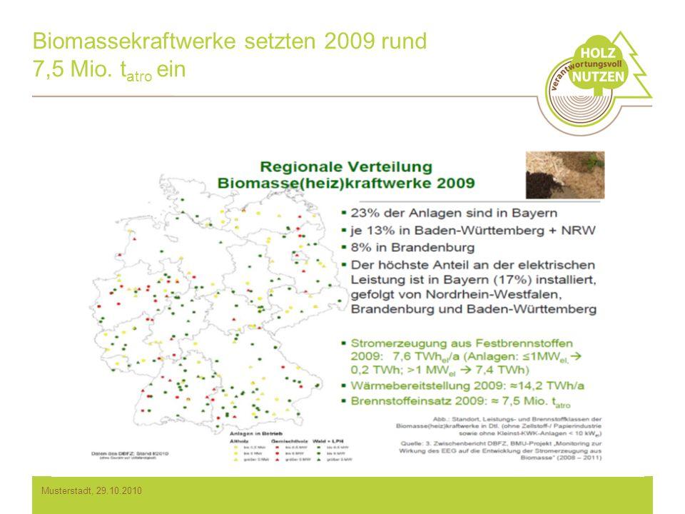 Biomassekraftwerke setzten 2009 rund 7,5 Mio. t atro ein Musterstadt, 29.10.2010