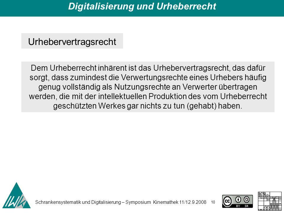 Schrankensystematik und Digitalisierung – Symposium Kinemathek 11/12.9.2008 10 Digitalisierung und Urheberrecht Urhebervertragsrecht Dem Urheberrecht