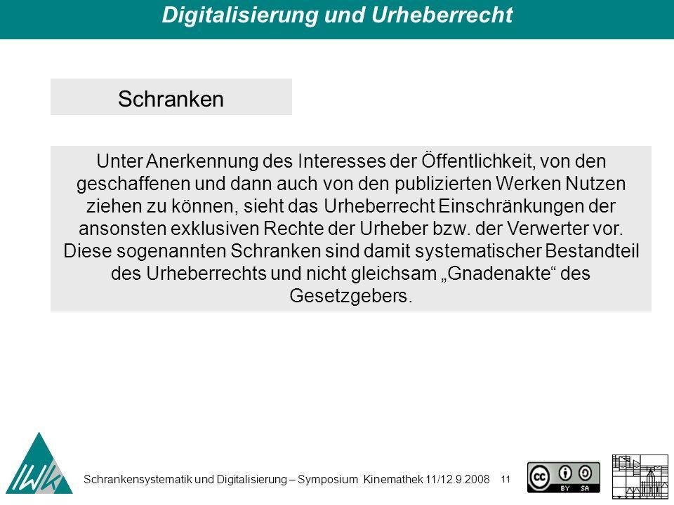 Schrankensystematik und Digitalisierung – Symposium Kinemathek 11/12.9.2008 11 Digitalisierung und Urheberrecht Schranken Unter Anerkennung des Intere
