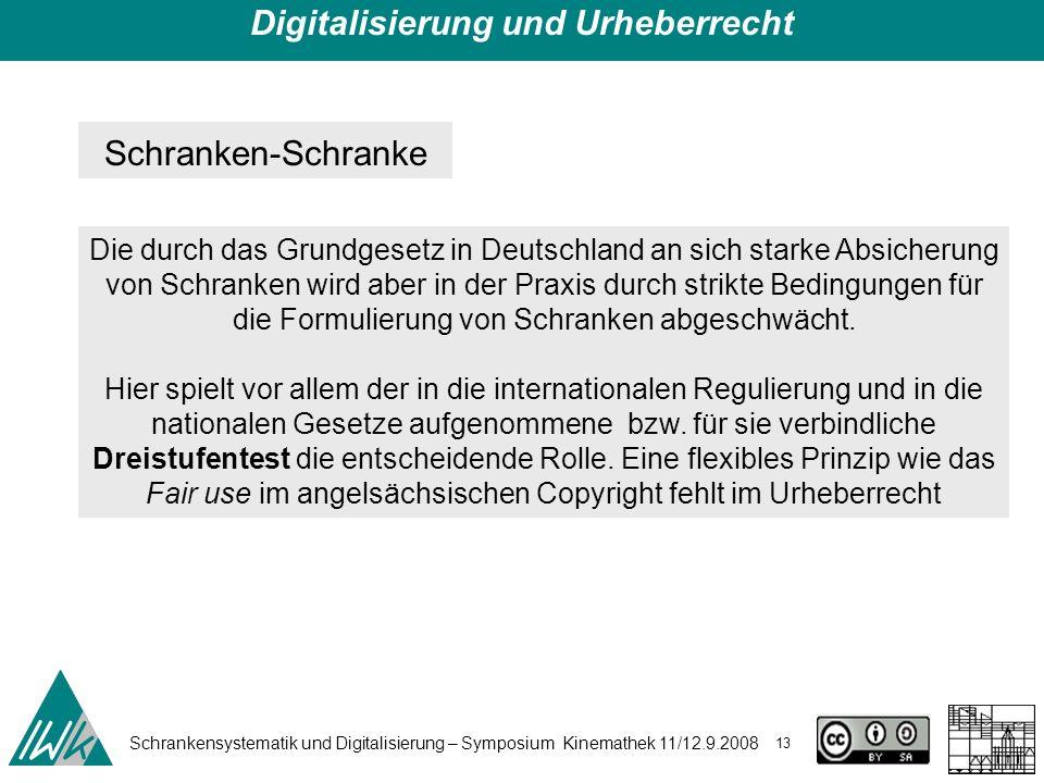 Schrankensystematik und Digitalisierung – Symposium Kinemathek 11/12.9.2008 13 Digitalisierung und Urheberrecht Schranken-Schranke Die durch das Grund