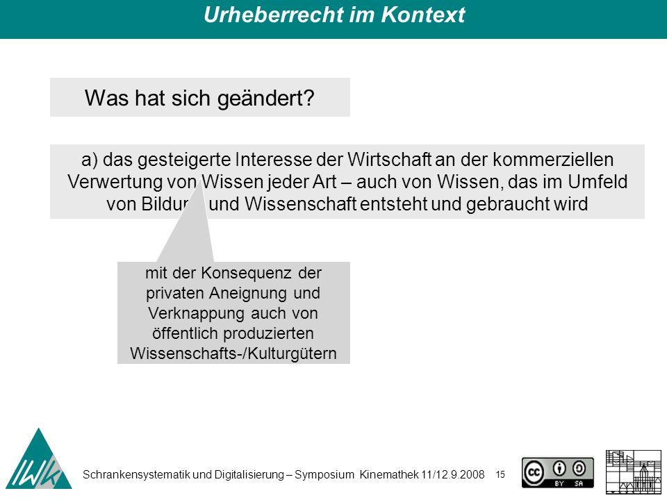 Schrankensystematik und Digitalisierung – Symposium Kinemathek 11/12.9.2008 15 Urheberrecht im Kontext Was hat sich geändert? a) das gesteigerte Inter