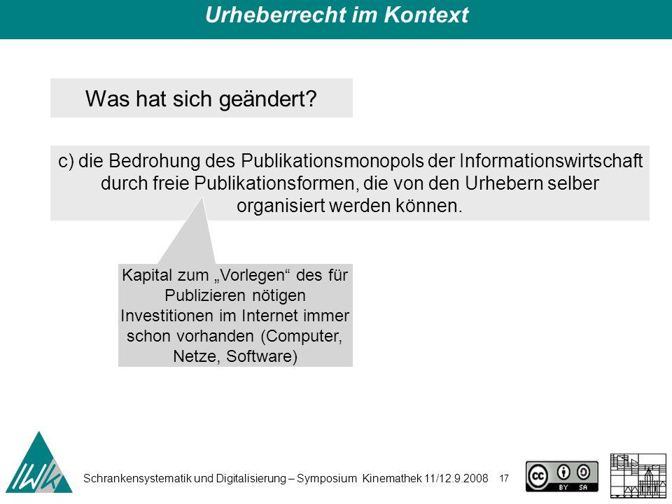 Schrankensystematik und Digitalisierung – Symposium Kinemathek 11/12.9.2008 17 Urheberrecht im Kontext Was hat sich geändert? c) die Bedrohung des Pub
