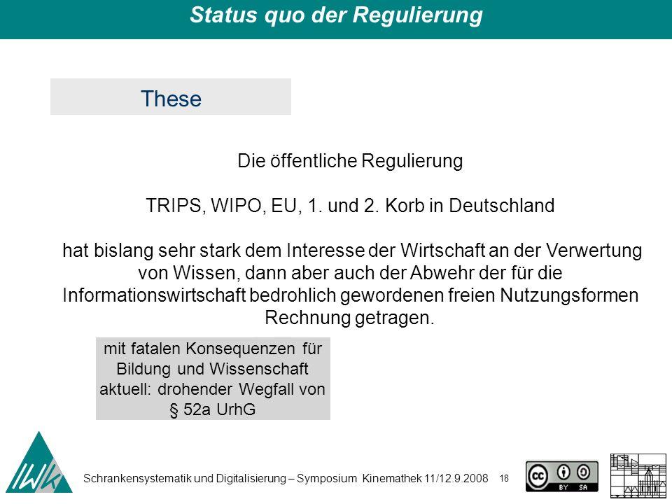 Schrankensystematik und Digitalisierung – Symposium Kinemathek 11/12.9.2008 18 Status quo der Regulierung Die öffentliche Regulierung TRIPS, WIPO, EU,