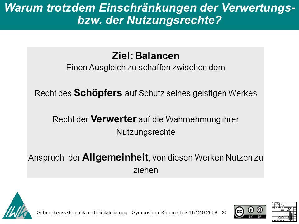 Schrankensystematik und Digitalisierung – Symposium Kinemathek 11/12.9.2008 20 Warum trotzdem Einschränkungen der Verwertungs- bzw. der Nutzungsrechte