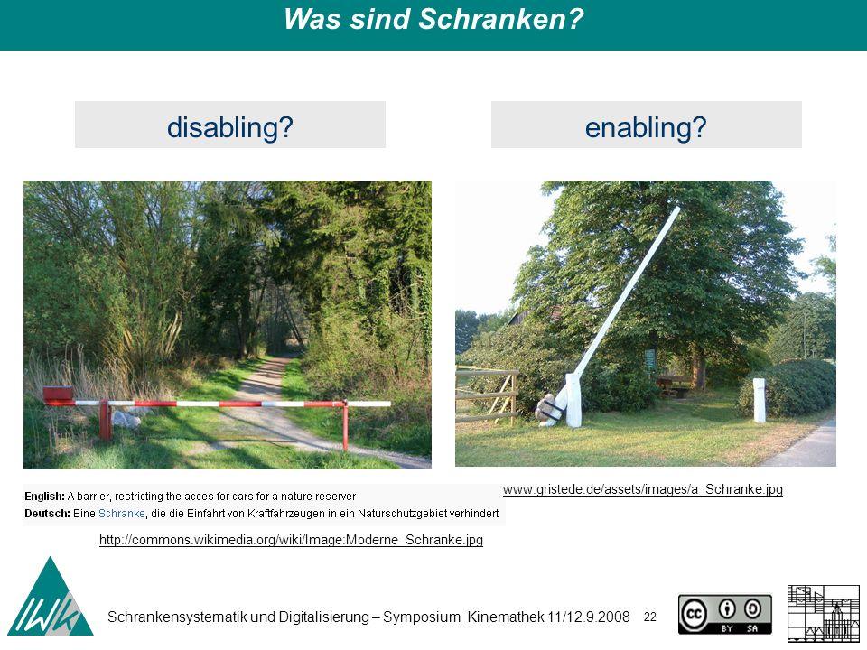 Schrankensystematik und Digitalisierung – Symposium Kinemathek 11/12.9.2008 22 Was sind Schranken? disabling? http://commons.wikimedia.org/wiki/Image:
