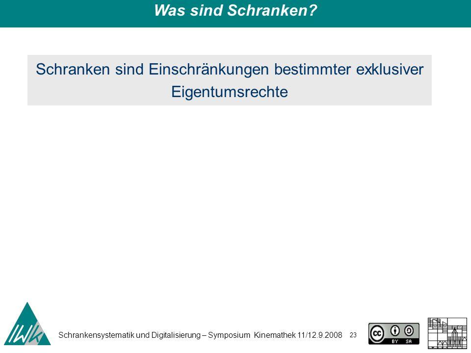 Schrankensystematik und Digitalisierung – Symposium Kinemathek 11/12.9.2008 23 Was sind Schranken? Schranken sind Einschränkungen bestimmter exklusive