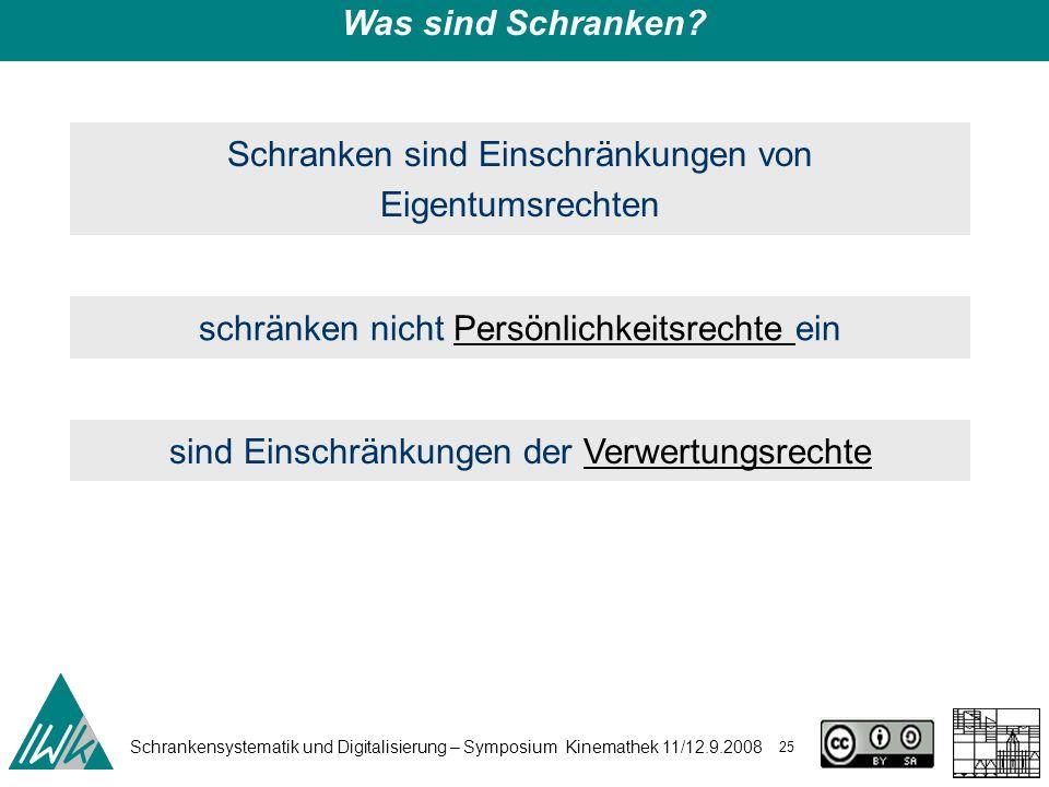 Schrankensystematik und Digitalisierung – Symposium Kinemathek 11/12.9.2008 25 Was sind Schranken? Schranken sind Einschränkungen von Eigentumsrechten