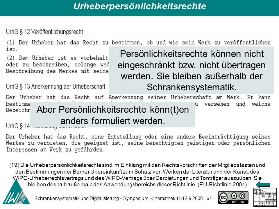 Schrankensystematik und Digitalisierung – Symposium Kinemathek 11/12.9.2008 27 (19) Die Urheberpersönlichkeitsrechte sind im Einklang mit den Rechtsvo
